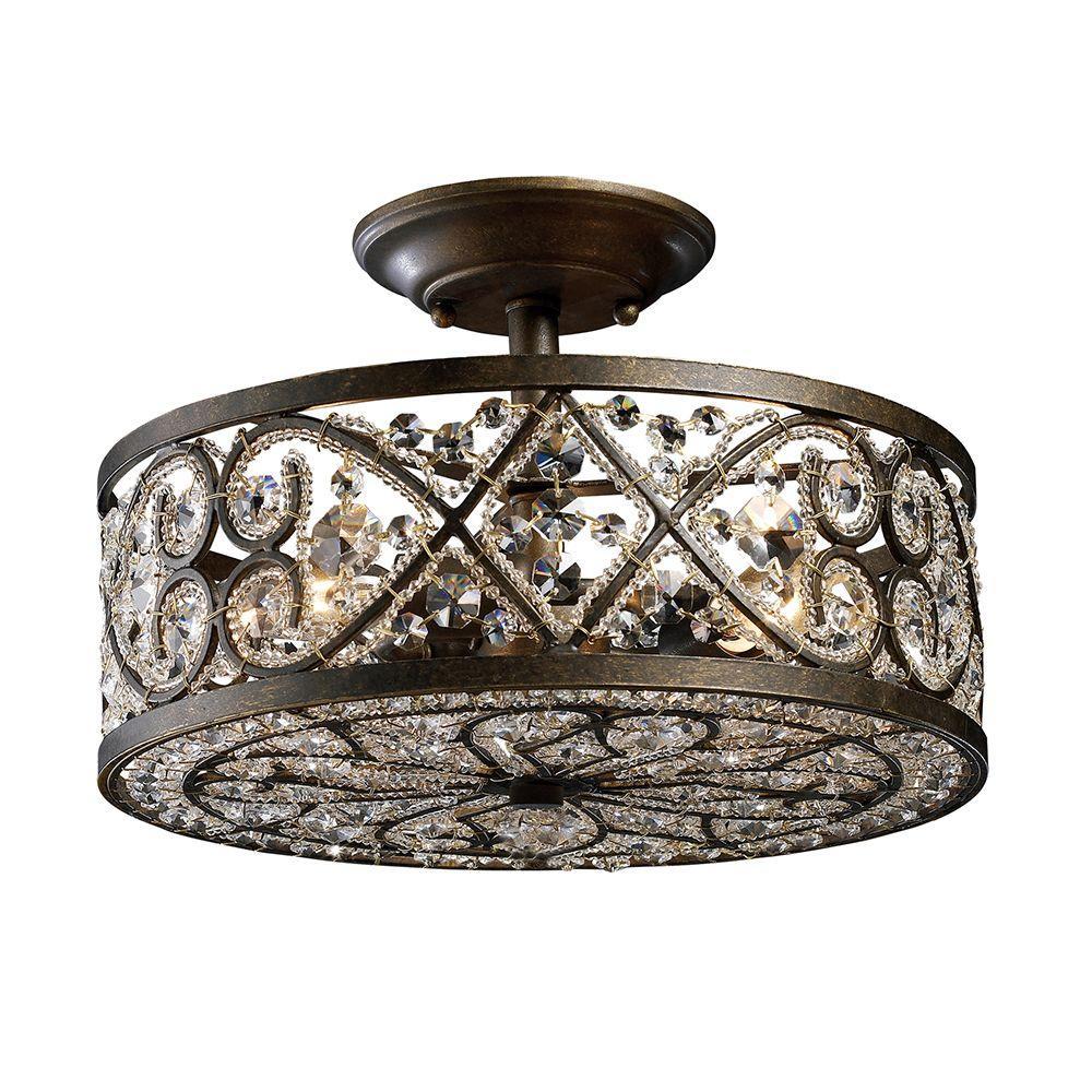 Amherst 4-Light Antique Bronze Ceiling Semi-Flush Mount Light