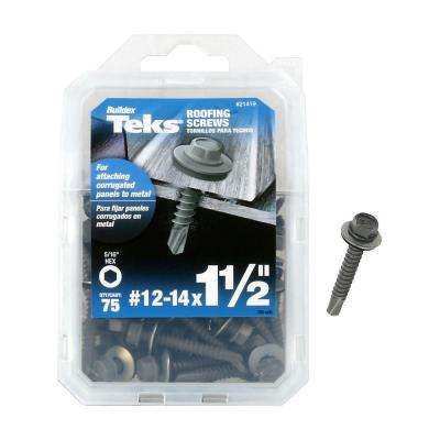 #12-14 x 1-1/2 in. Hex Washer Head Drill Point Screw (75-Pack)