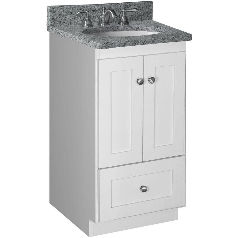 Shaker 18 in. W x 21 in. D x 34.5 in. H Vanity Cabinet Only in Satin White