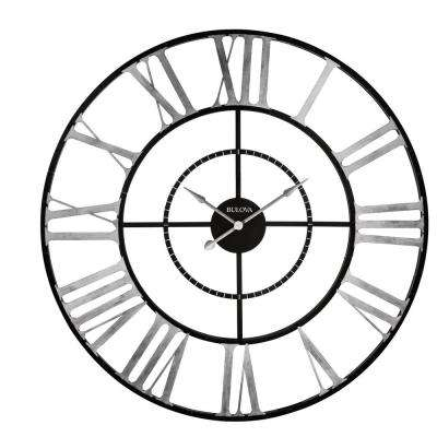 60 in. H x 60 in. W Weathered Metal Case Round Oversized Wall Clock