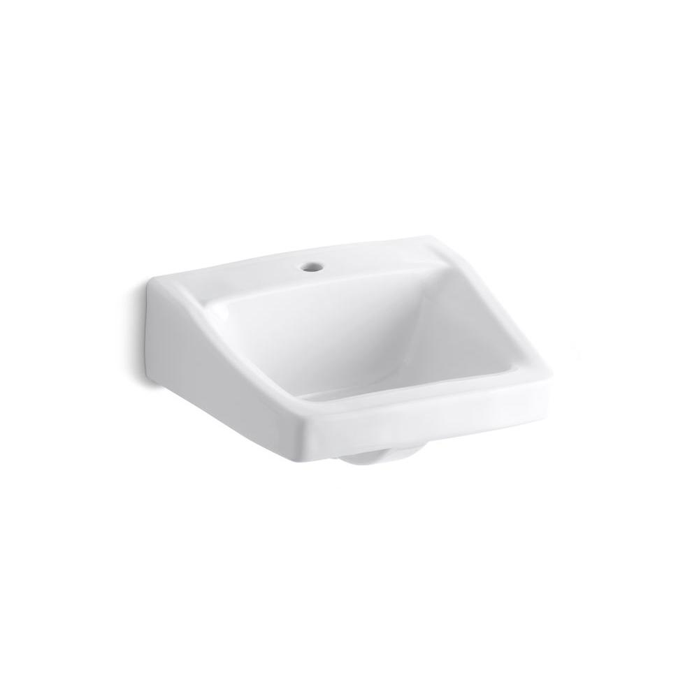 Kohler Chesapeake Wall Mount Vitreous China Bathroom Sink In White With Overflow Drain K 1722 0