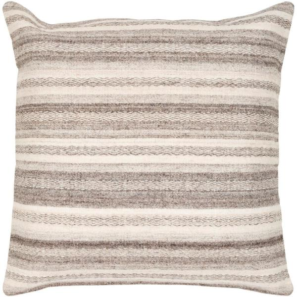 Milogost Grey Striped Polyester 3In. x 3In. Throw Pillow