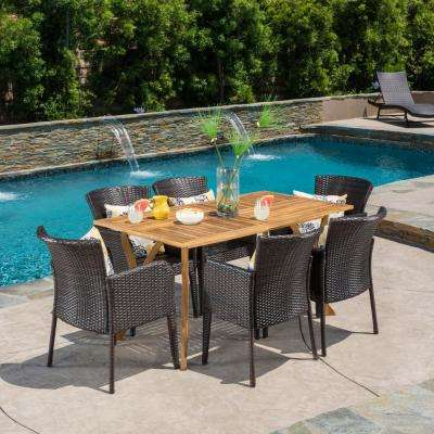 Keira 7-Piece Wood and Wicker Outdoor Dining Set