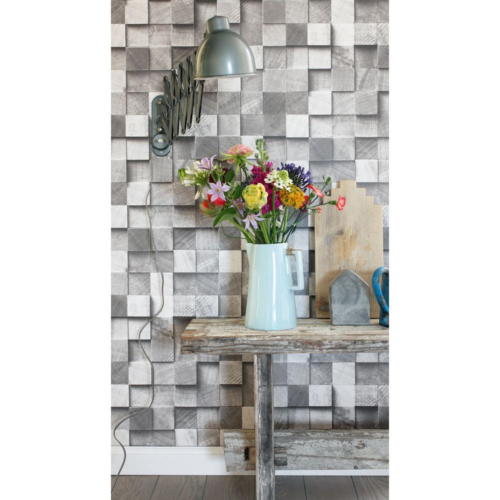 56.4 sq. ft. Tevye Grey Wood Geometric Strippable Wallpaper