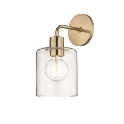Neko 1-Light Aged Brass Wall Sconce with Clear Glass