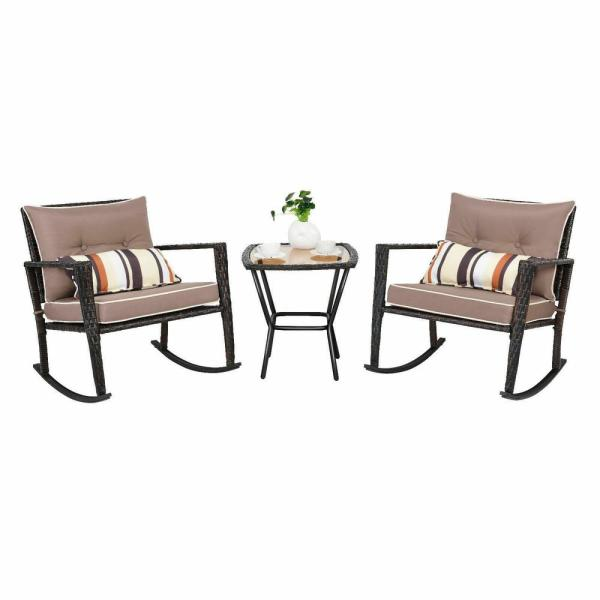 Costway 3 Piece Wicker Patio Conversation Rocking Chair Coffee Table Furniture Set With Brown Cushions Hw57335gr The Home Depot