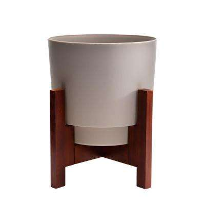 Hopson Medium 12 in. Pebble Stone Planter with Wood Stand Stone