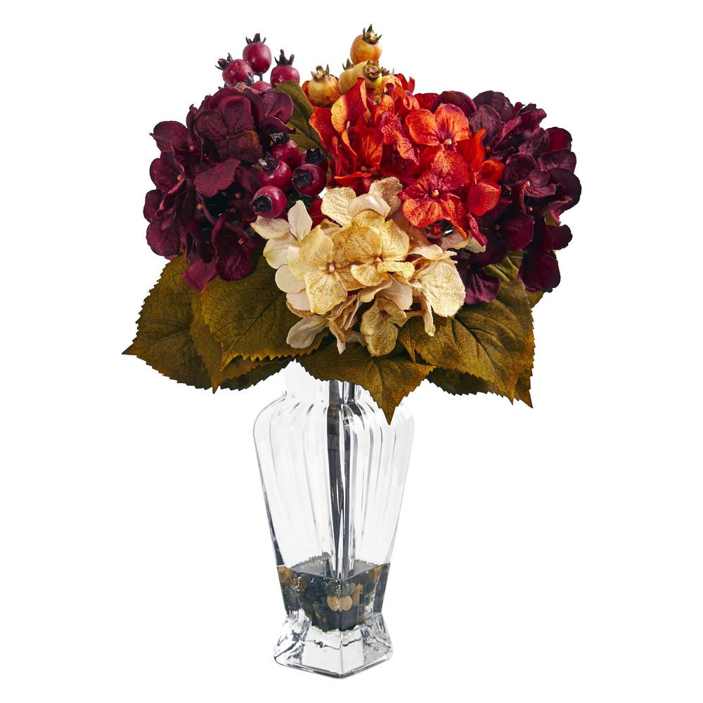 1cc0f0b32b1 Nearly Natural Indoor Autumn Hydrangea Berry Artificial Arrangement in Glass  Vase-1788 - The Home Depot
