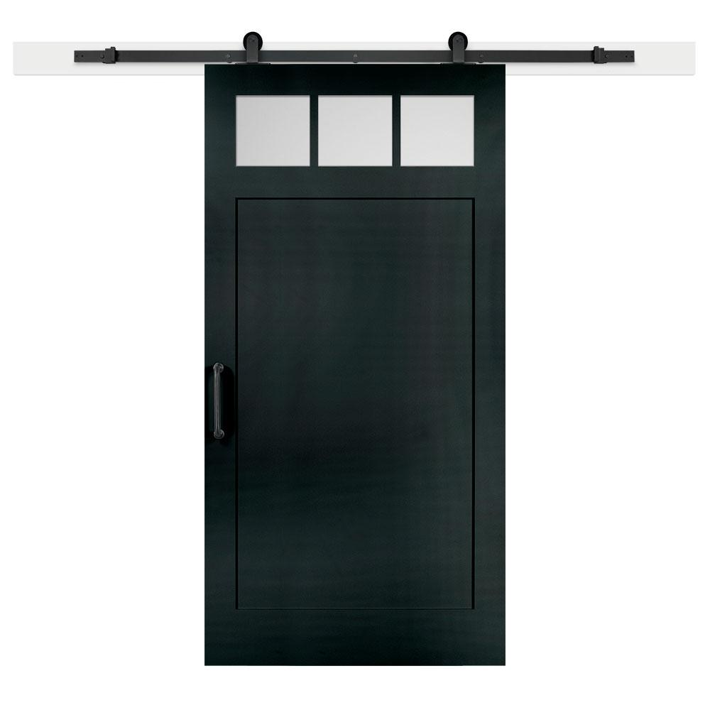 Jeff Lewis 42 in. x 84 in. Knight Craftsman 3-Lite Clear  Solid-Core MDF Barn Door with Sliding Door Hardware Kit