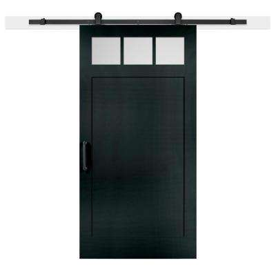 42 in. x 84 in. Knight Craftsman 3-Lite Clear  Solid-Core MDF Barn Door with Sliding Door Hardware Kit