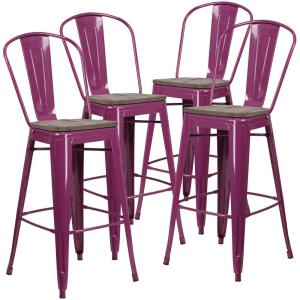 Incredible 30 In Purple Bar Stool Set Of 4 Gamerscity Chair Design For Home Gamerscityorg