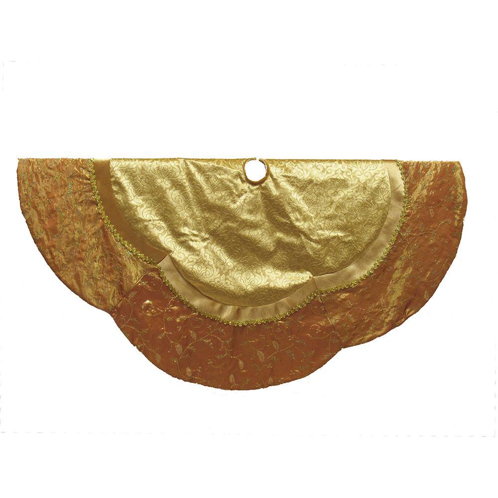 gold etched velvet treeskirt - Gold Christmas Tree Skirt