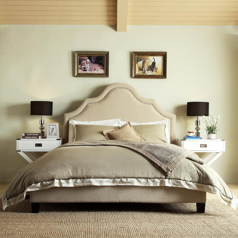HomeSullivan Beauvais Beige Full Upholstered Bed