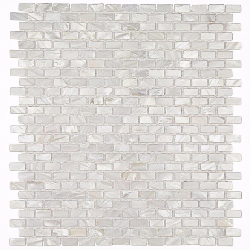 Ivy Hill Tile Mother of Pearl Mini Brick Pattern 11-1/4 in. x 12-1/4 in. x 2 mm Pearl Mosaic Floor and Wall Tile
