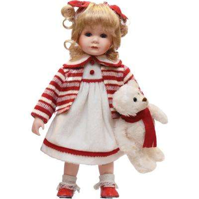 14 in. Porcelain Amanda with Teddy Bear Standing Collectible Christmas Doll