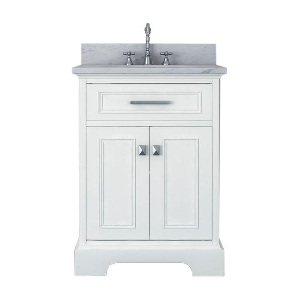 Alya Bath Yorkshire 25 in. W x 22 in. D Vanity in White with Marble Vanity Top in White with White Basin and Mirror