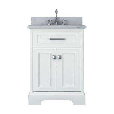Yorkshire 25 in. W x 22 in. D Vanity in White with Marble Vanity Top in White with White Basin and Mirror