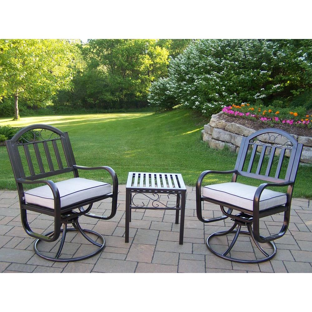 Oakland Living Rochester Swivel 3 Piece Patio Chair Set With Oatmeal  Cushions