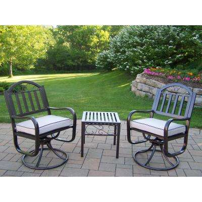 Rochester Swivel 3-Piece Patio Chair Set with Oatmeal Cushions