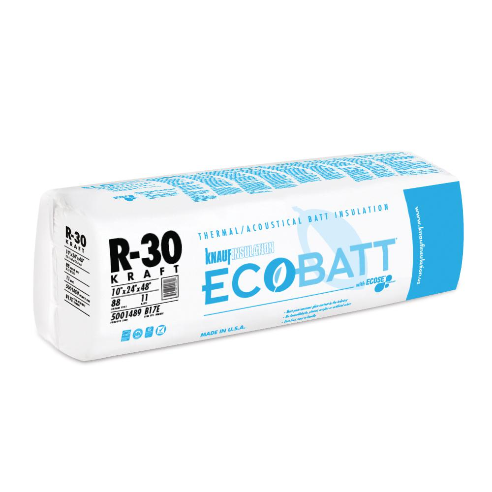 Knauf Insulation R 30 Ecobatt Kraft Faced Fiberglass Insulation Batt 10 In X 24 In X 48 In 5001489 The Home Depot