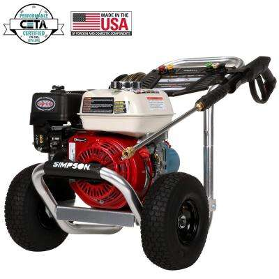 Aluminum 3400 PSI at 2.5 GPM HONDA GX200 with CAT Triplex Plunger Pump Cold Water Pro Gas Pressure Washer