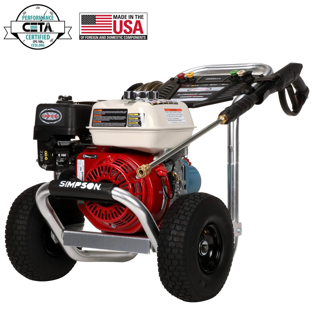 Simpson Aluminum 3400 psi at 2 5 GPM HONDA GX200 with CAT Triplex Pump  Professional Gas Pressure Washer (CARB)