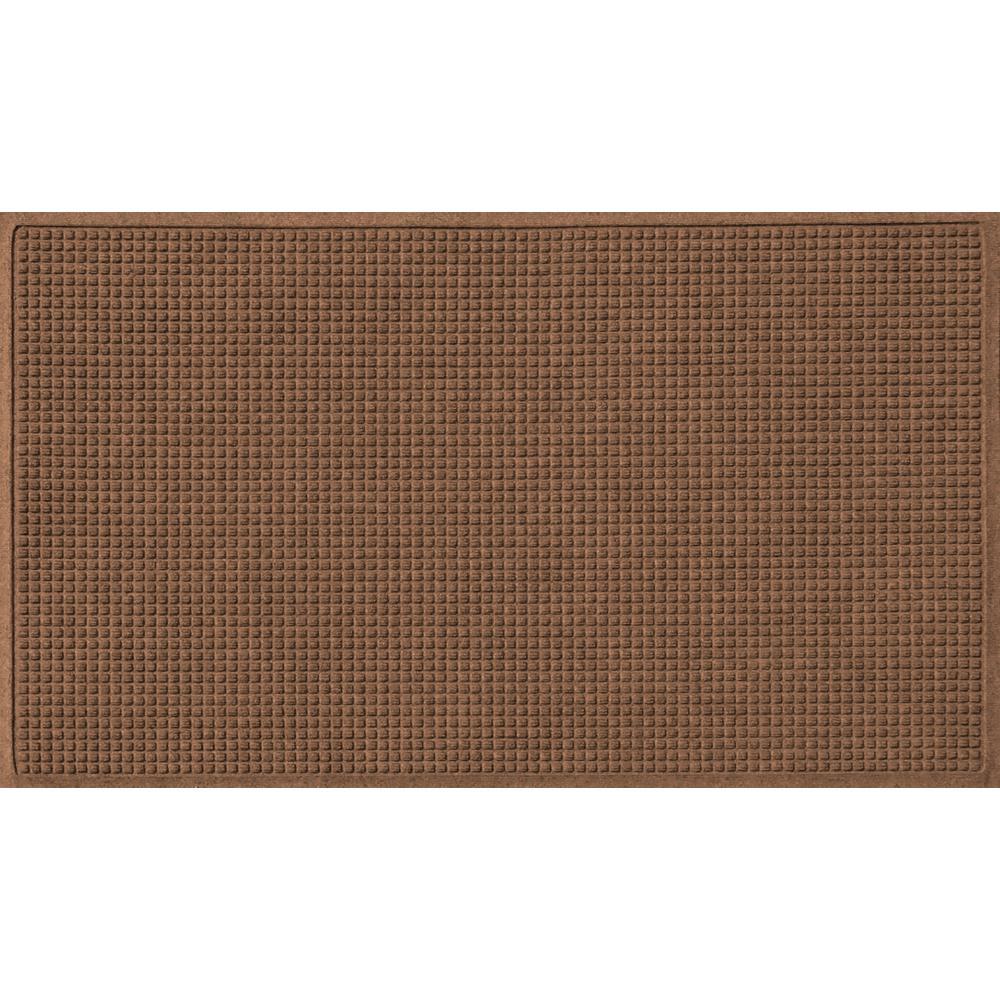 Dark Brown 36 in. x 120 in. Squares Polypropylene Door Mat