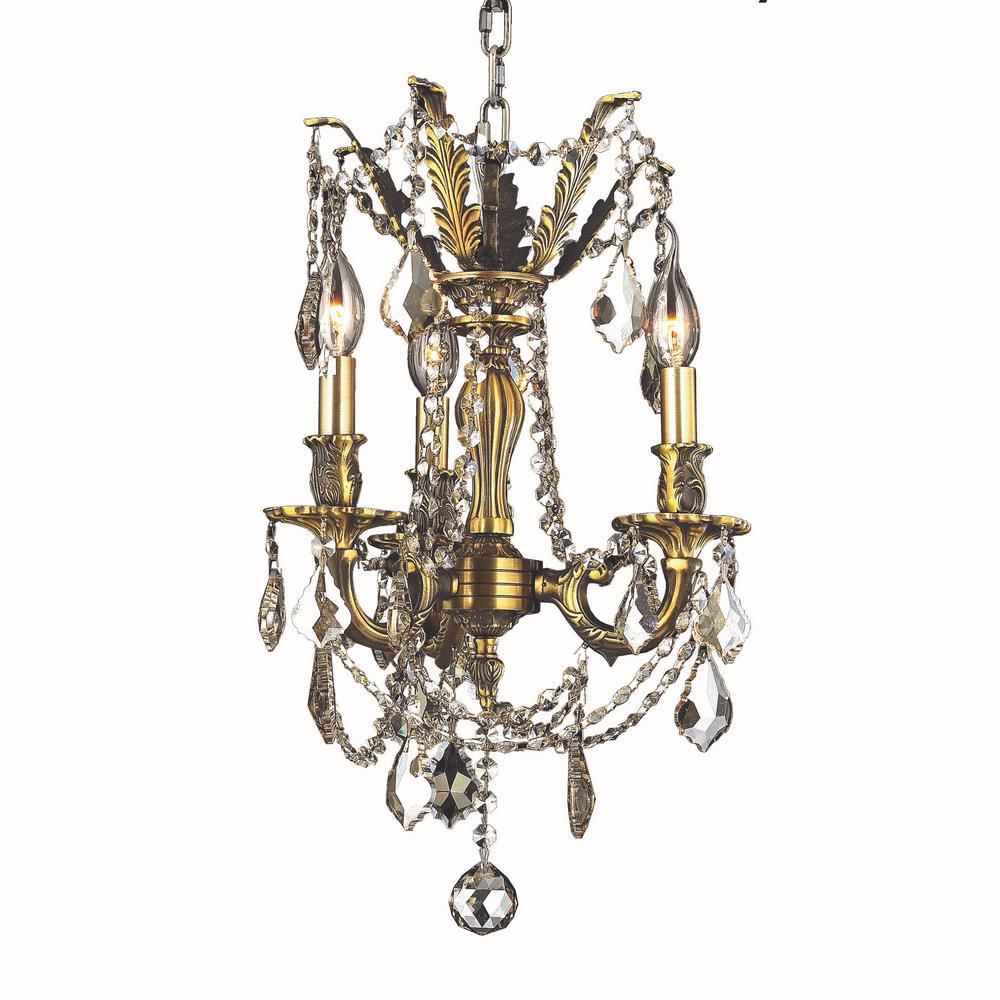 Worldwide Lighting Windsor 3-Light Antique Bronze Chandelier with Golden  Teak Crystal - Worldwide Lighting Windsor 3-Light Antique Bronze Chandelier With