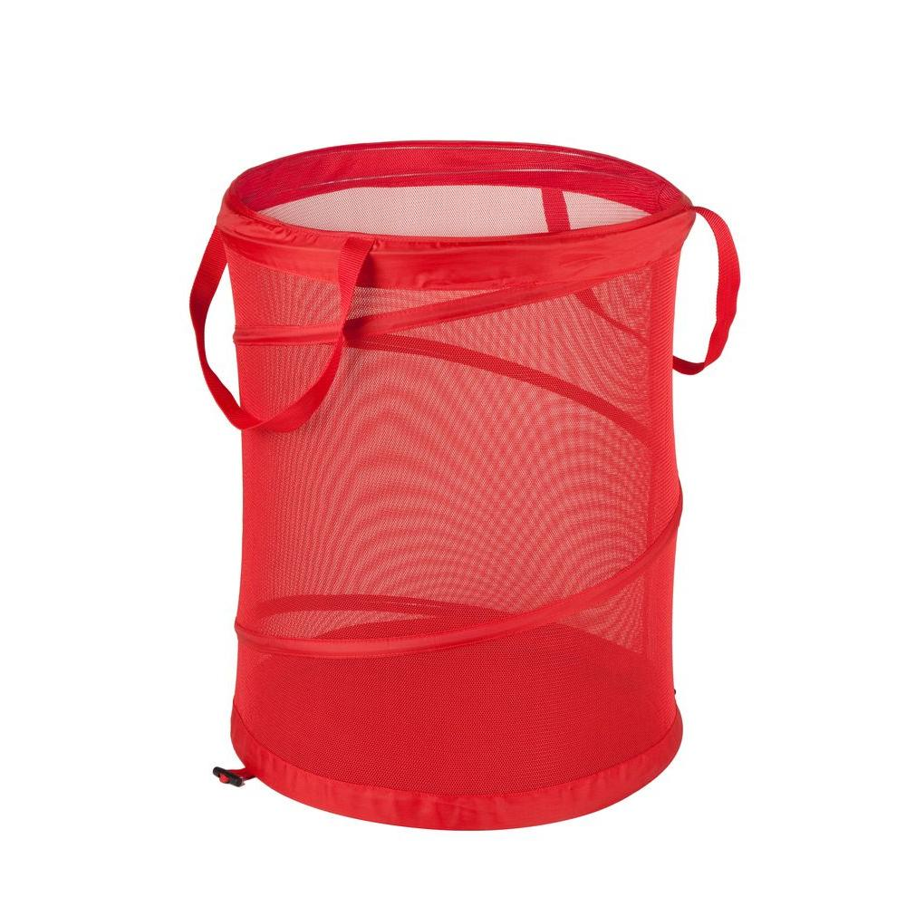 Honey Can Do Medium Red Mesh Pop Open Hamper