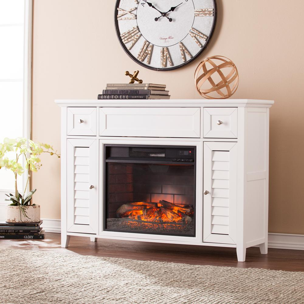 Kennison 48 in. 3-in-1 Infrared Media Fireplace Console in White