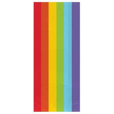 9.5 in. x 4 in. Rainbow Cellophane Party Bags (25-Count, 12-Pack)