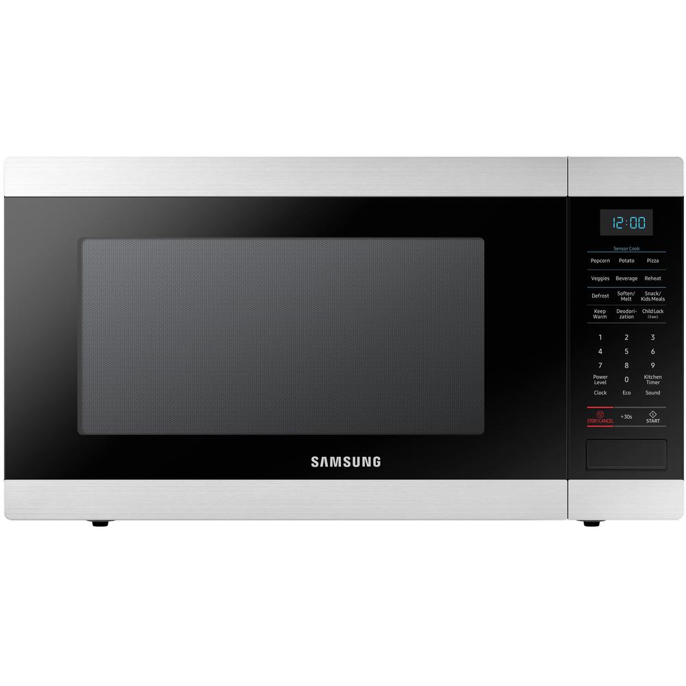 Samsung 1 9 Cu Ft Countertop Microwave In Stainless Steel With Ceramic Enamel Interior