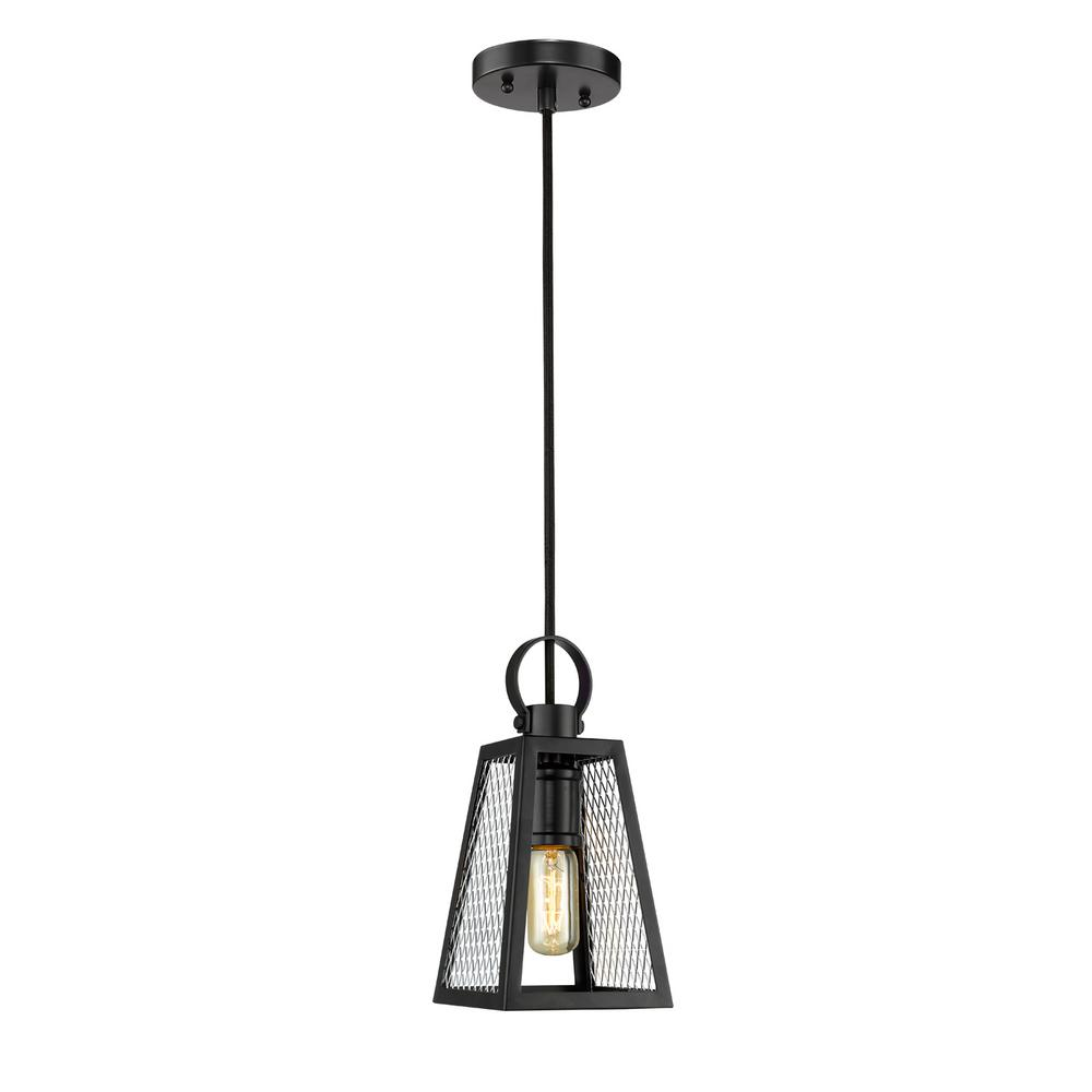 Abbott 1-Light Black Chandelier with Chrome Mesh Shade