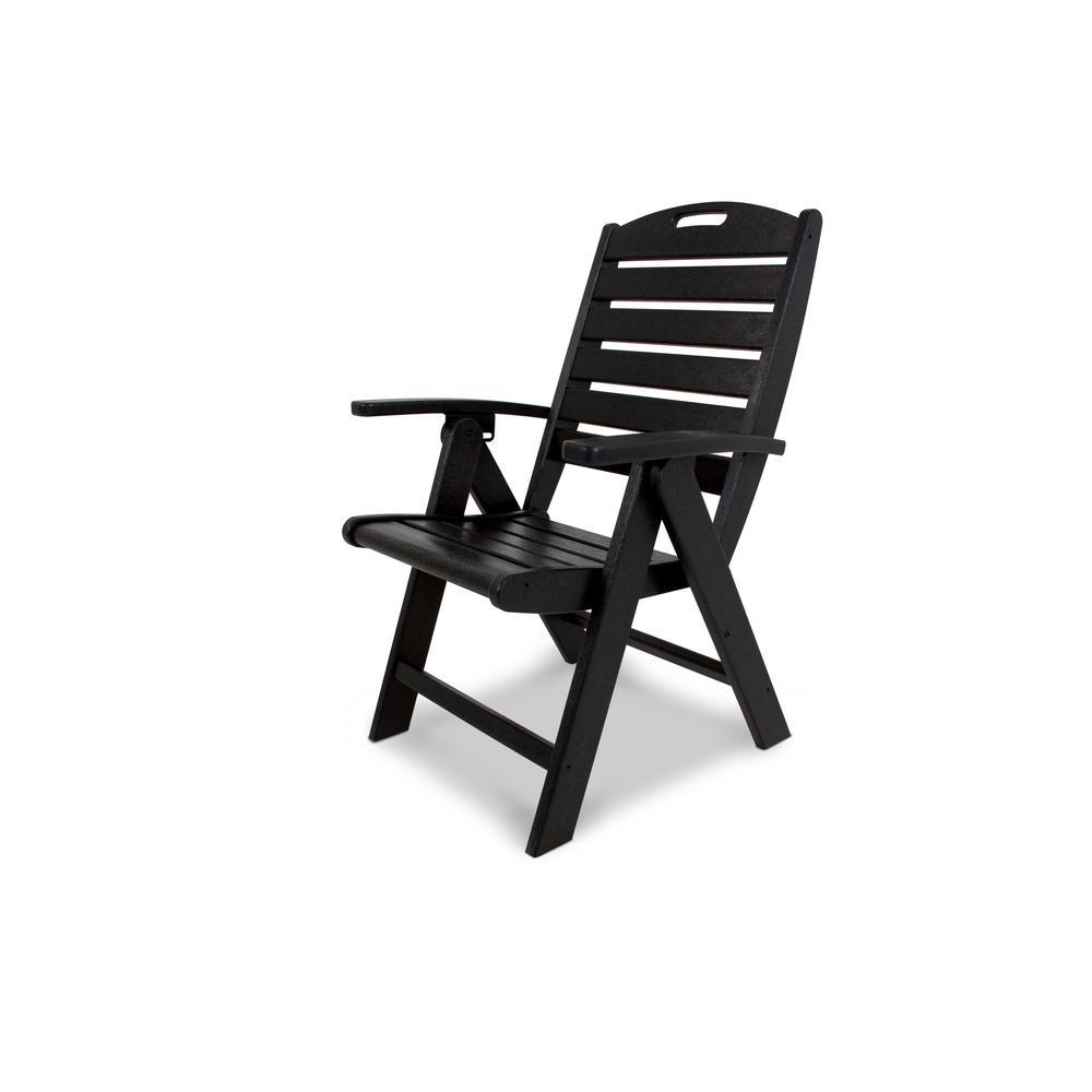 Yacht Club Charcoal Black Highback Patio Folding Chair