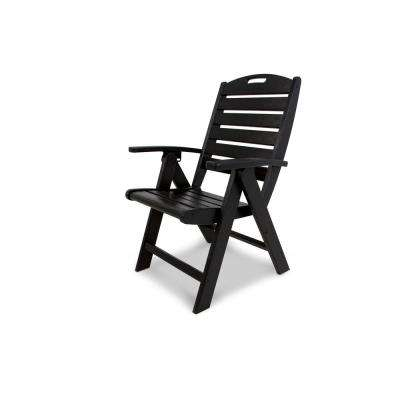 Beau Yacht Club Charcoal Black Highback Patio Folding Chair
