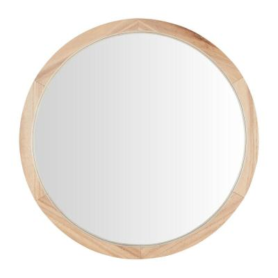 Medium Round Brown Natural Wood Transitional Accent Mirror (24 in. Diameter)