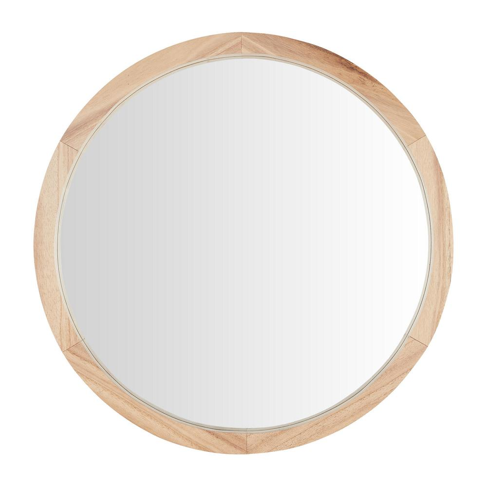 24 in. Diameter Home Decorators Collection Round Framed Natural Wood Accent Mirror