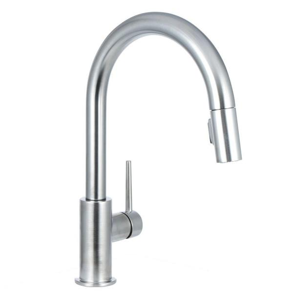 Delta Trinsic Single-Handle Pull-Down Sprayer Kitchen Faucet with MagnaTite Docking in Arctic Stainless