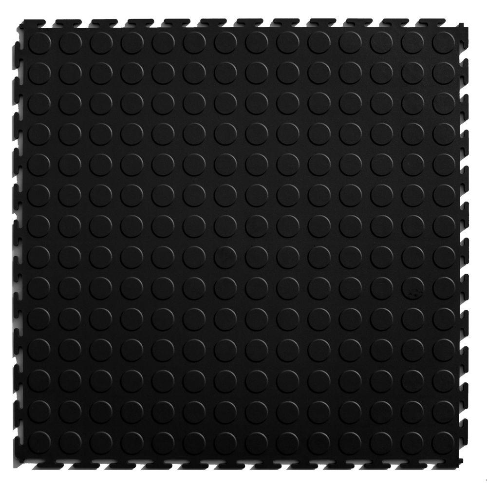 IT-tile Coin Black 20.5 in. x 20.5 in. Residential & Commercial Interlocking Multi-Purpose Flooring Tile, 8 Tiles