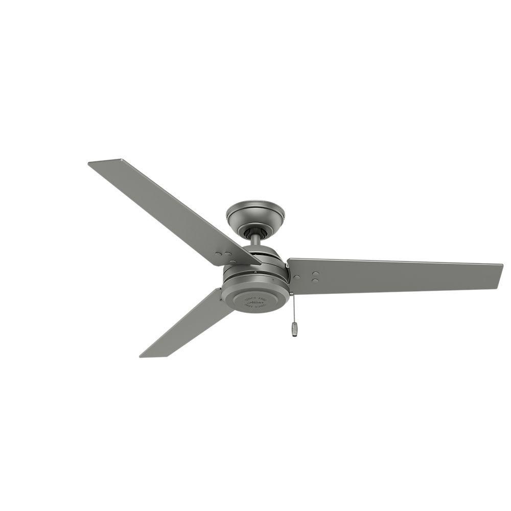 Nice Indoor/Outdoor Matte Silver Ceiling Fan