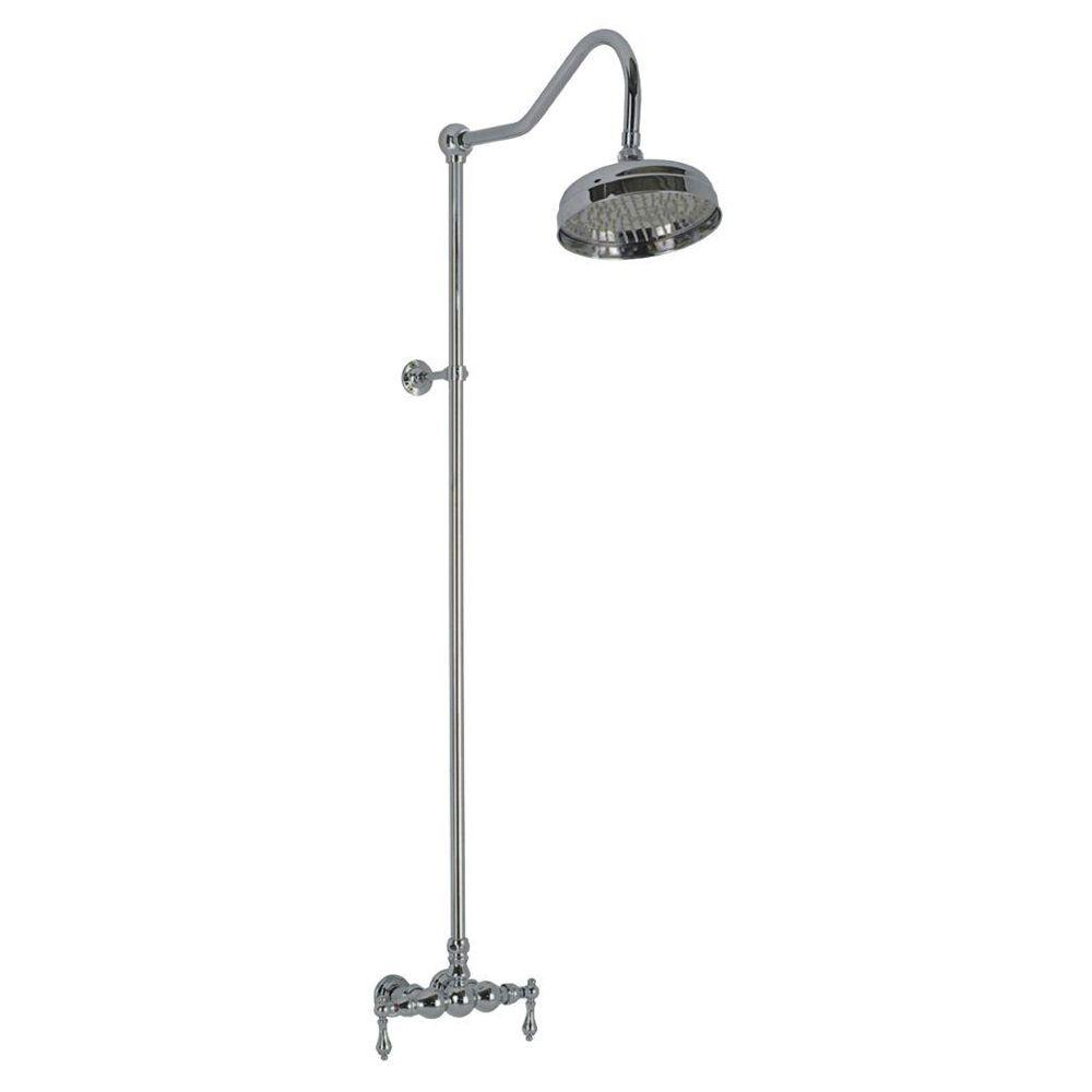 Elizabethan Classics 2-Handle 1-Spray Wall-Mount Exposed Tub and Shower Faucet with Metal Lever Handles in Satin Nickel (Valve Included)