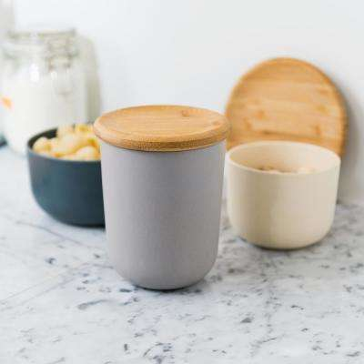 Leo 5.3 in. Bamboo Covered Canister