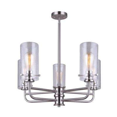 Albany 5-Light Brushed Nickel Chandelier with Seeded Glass Shade
