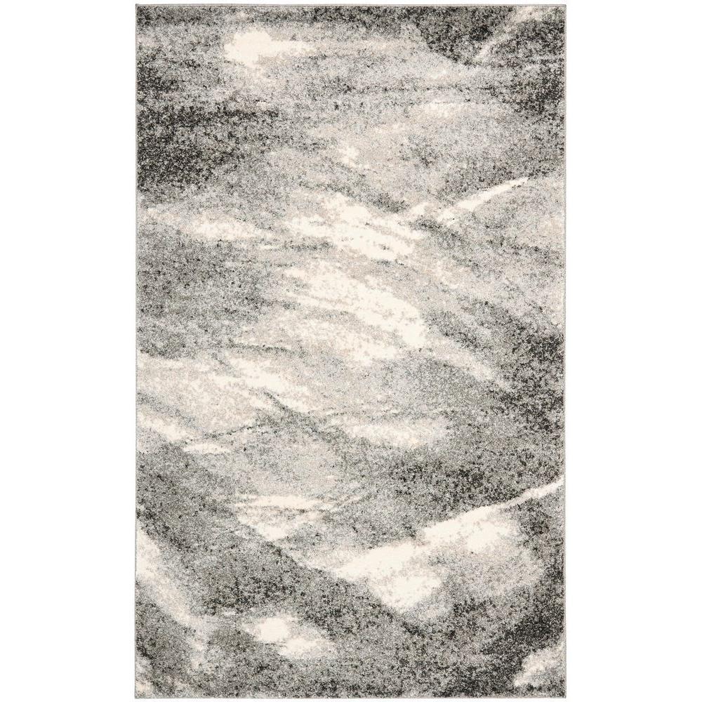 Retro Grey/Ivory 8 ft. x 10 ft. Area Rug