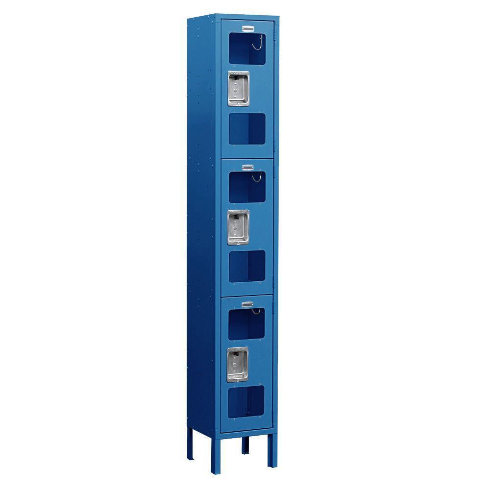 Salsbury Industries S-63000 Series 12 in. W x 78 in. H x 12 in. D 3-Tier See-Through Metal Locker Unassembled in Blue