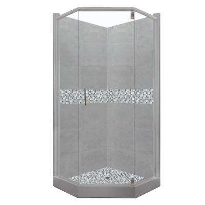 Del Mar Grand Hinged 32 in. x 36 in. x 80 in. Left-Cut Neo-Angle Shower Kit in Wet Cement and Satin Nickel Hardware