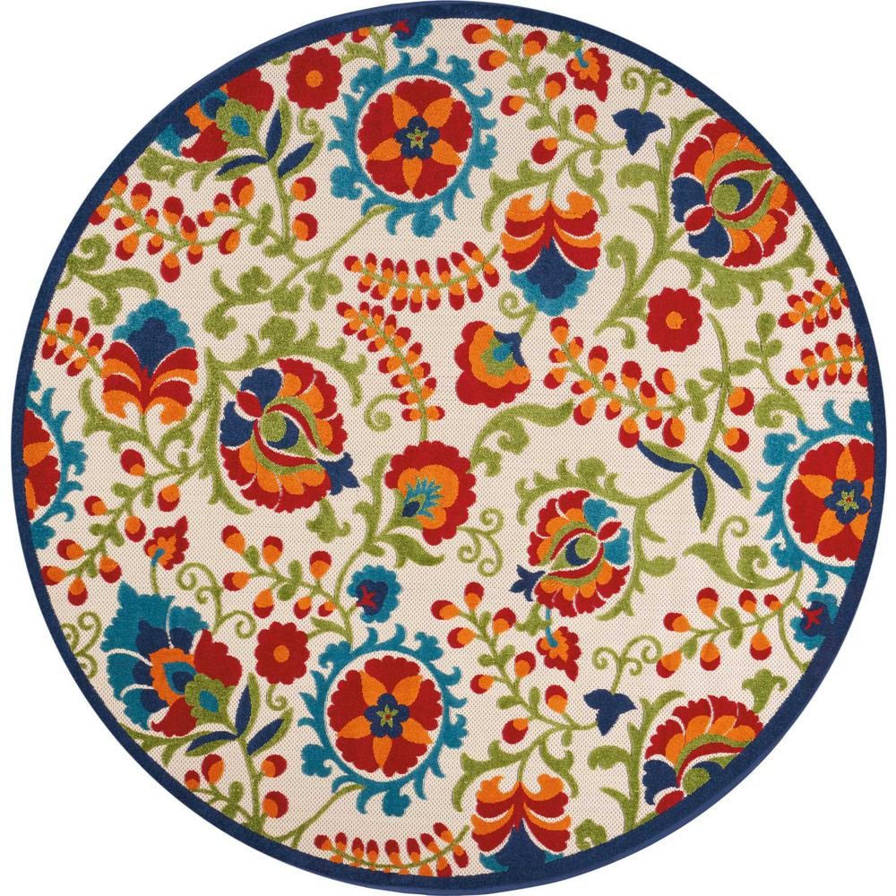 Nourison Aloha Multi 8 Ft X 8 Ft Indoor Outdoor Round Area Rug