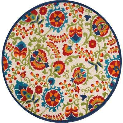 Aloha Multi 8 ft. x 8 ft. Indoor/Outdoor Round Area Rug