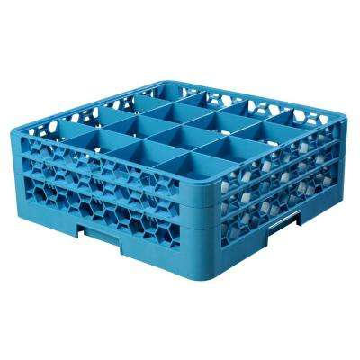 19.75x19.75 in. 16-Compartment 2 Extender Glass Rack (for Glass 4.19 in. Diameter, 6.34 in. H) in Blue (Case of 3)