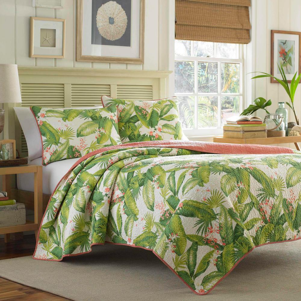 Aregada Dock 3-Piece Ecru Beige Floral Cotton Full/Queen Quilt Set